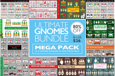 Mega Holidays Gnomes Bundle, The Ultimate Giga Gnomes Bundle Svg, Holi