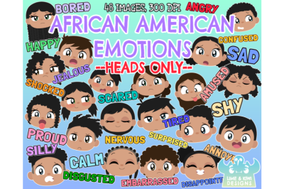 African American Kids Emotions - Faces Clipart - Lime and Kiwi Designs