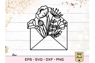 Flowers in envelope SVG