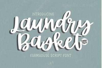 LAUNDRY BASKET Farmhouse Script