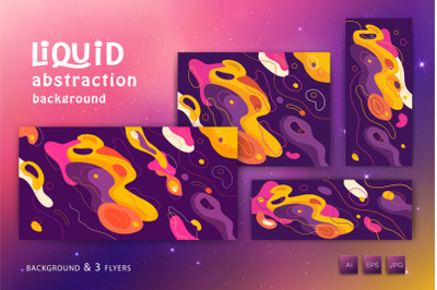 Liquid abstract background with geometric shapes