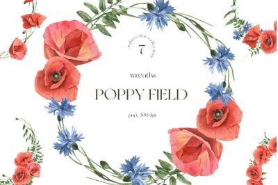 Poppy Field Watercolor Wreaths