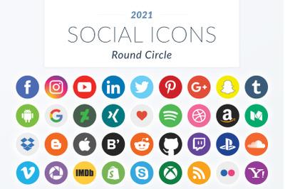 2021 Round Circle Social Icons