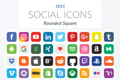 2021 Rounded Square Social Icons