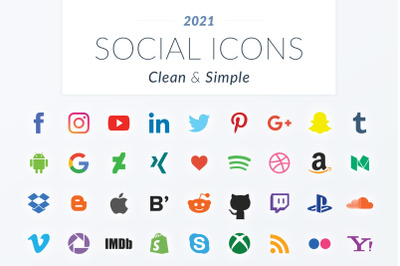 2021 Clean & Simple Social Icons