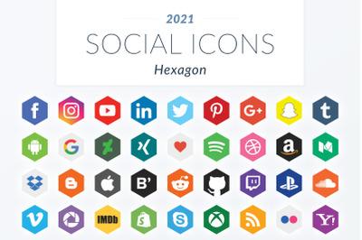 2021 Hexagon Social Icons