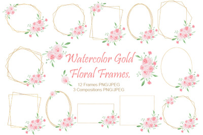 Watercolor gold floral frame. Wedding frames.
