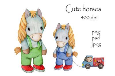 Cute Horses. Watercolor illustrations for children.