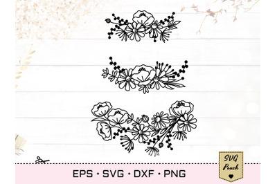Wildflower wreath florals SVG