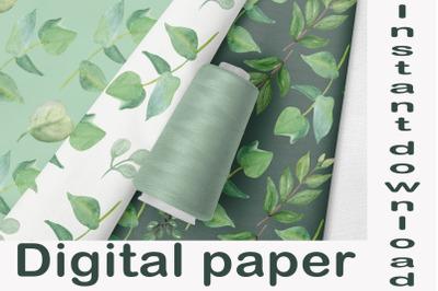 Floral digital paper eucalyptus leaves, Seamless designs, Watercolor p
