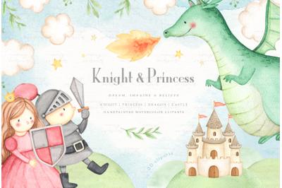Knight & Princess Watercolor Clip Arts