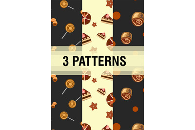 3 patterns in vector format. Background. Sweetness pattern.
