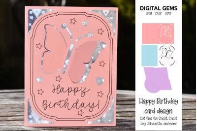 Butterfly Birthday card. Cricut joy card