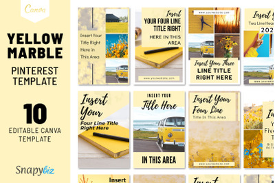 Yellow Marble Pinterest Template