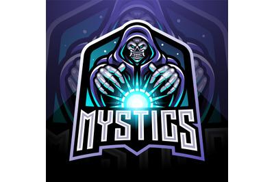 Skull wizard esport gaming mascot logo holding a magical ball