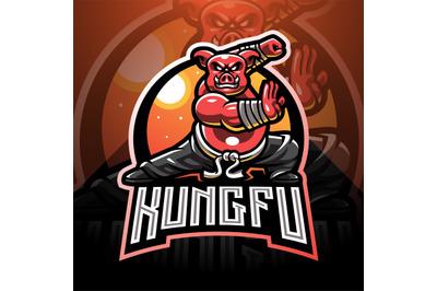 Kungfu pig esport mascot logo design