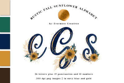 Sunflower Monogram Alphabet Rustic Country Chic Letters & Numbers
