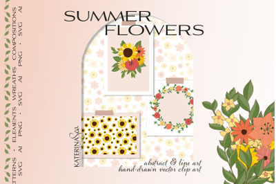 Summer flowers vector collection