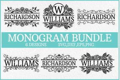Split Monogram Svg, Monogram Svg, Flourish Monogram Svg, Floral Monogr