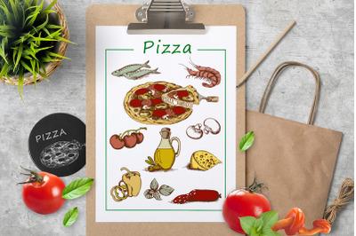 Hand Drawn Vintage Pizza