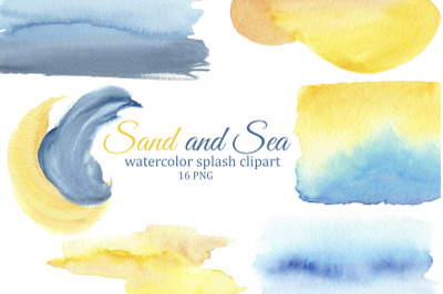 Watercolor splashes and brush strokes, sea and sand background and tex