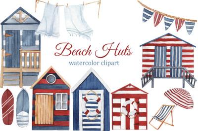 Watercolor beach huts, summer clipart, boho beach tiny house, travel c