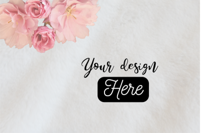 Mockup background with fur and pink flowers