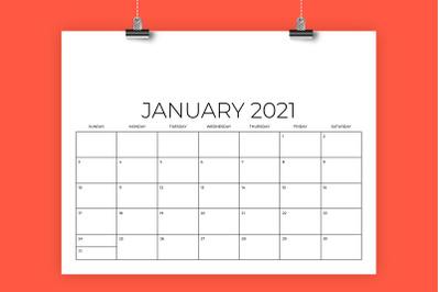 8.5 x 11 Inch Designer 2021 Calendar