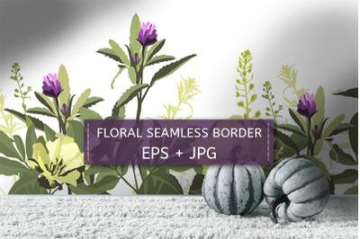 Yellow, purple flowers, green herbs