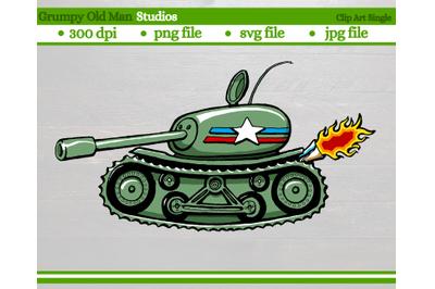 cartoon US Sherman army tank