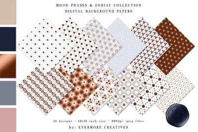 Lunar Cycles, Moon Phase, & Zodiac Digital Paper Pack