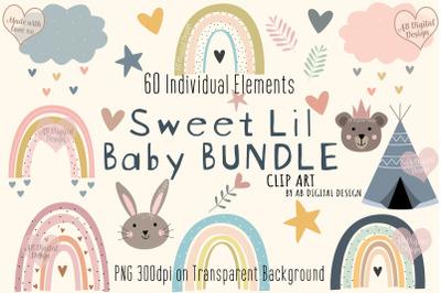 Baby Nursery Clipart Bundle, Baby Shower, Animals, Rainbows, Pastel