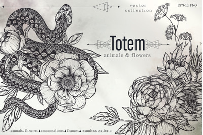 Totem animals and flowers vector set