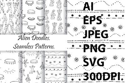 Aliens pattern doodle. Seamless Patterns.