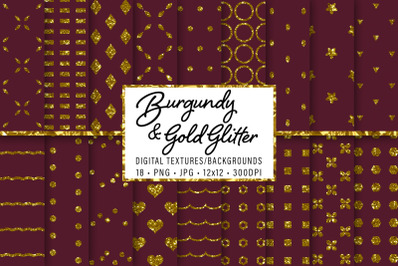Burgundy and Gold Glitter Patterns