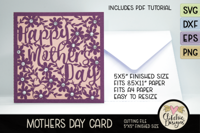 Mothers Day Card SVG - Happy Mothers Day Card Cutting File