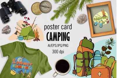 CAMPING - Poster card