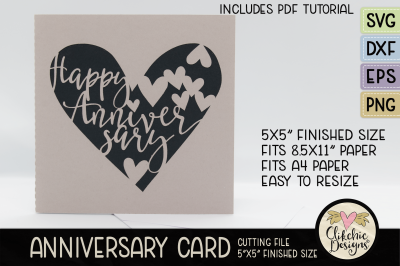 Anniversary Card SVG - Happy Anniversary SVG Cutting File