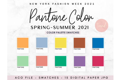 Pantone color spring - summer 2021, Swatches