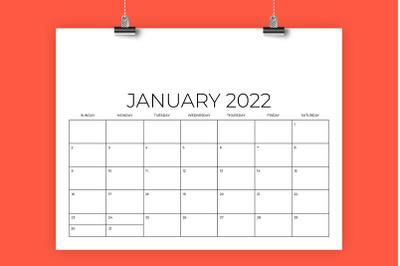 8.5 x 11 Inch Designer 2022 Calendar