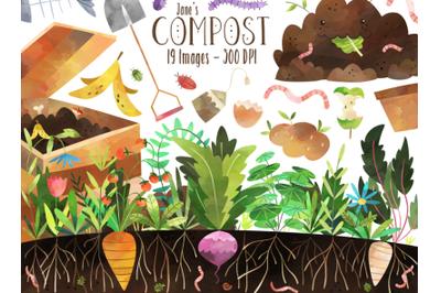 Watercolor Compost Clipart