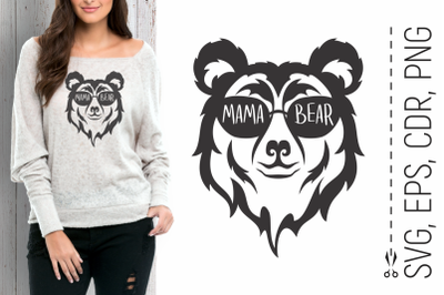 Mama Bear Head with Glasses Svg