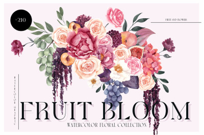 Fruit Bloom. Watercolor Graphic