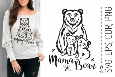 Mama Bear with Babies Mother's Day SVG