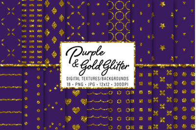 Purple and Gold Glitter Patterns