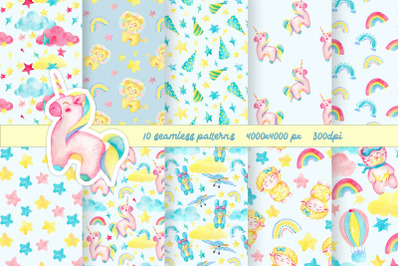Unicorn seamless pattern pack / Kids digital paper pack / children ill