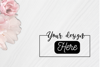 Mockup background with white wood and flower