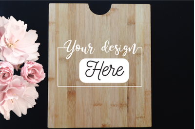 Cutting board mockup with flower, kitchen blank background Mock Up