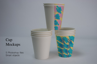 Paper Cups Mockups. 5PSD files with smart objects