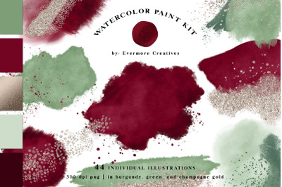 Wine Red & Sage Green Abstract Watercolor Paint Kit